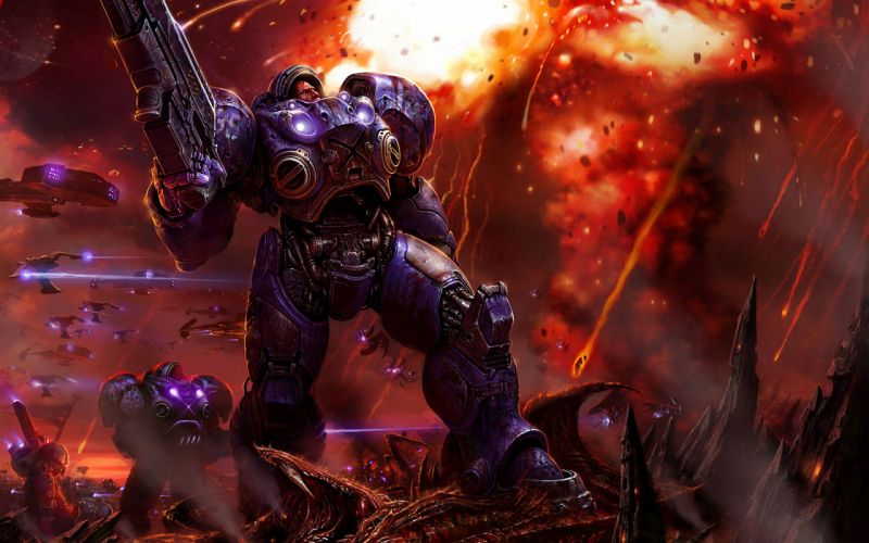 Starcraft Terran infantry weapons armor gunshots explosions Zerg warrior sci-fi wallpaper