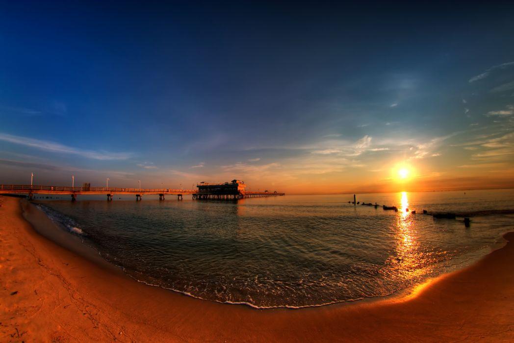 sunset ocean beach pier landscape wallpaper
