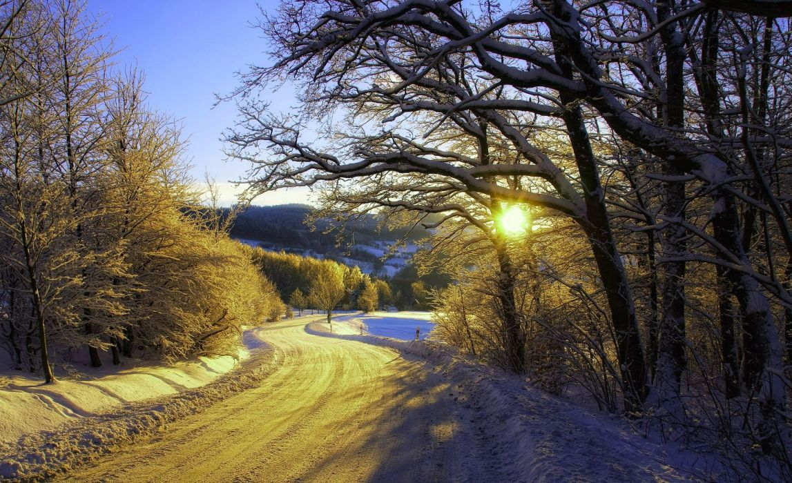 sunset winter road landscape wallpaper
