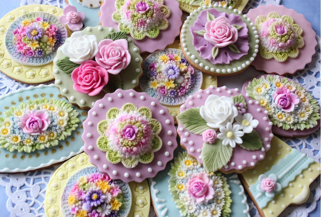 sweets pastries cookies icing decorations flowers beads wallpaper