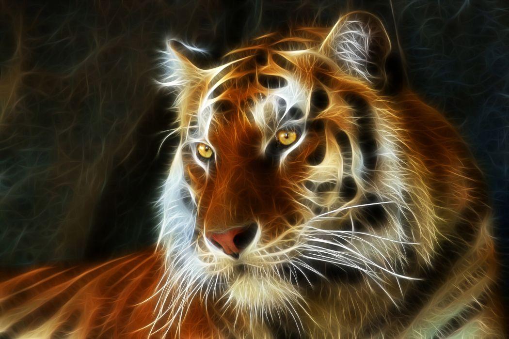 tiger 3d art fractal wallpaper