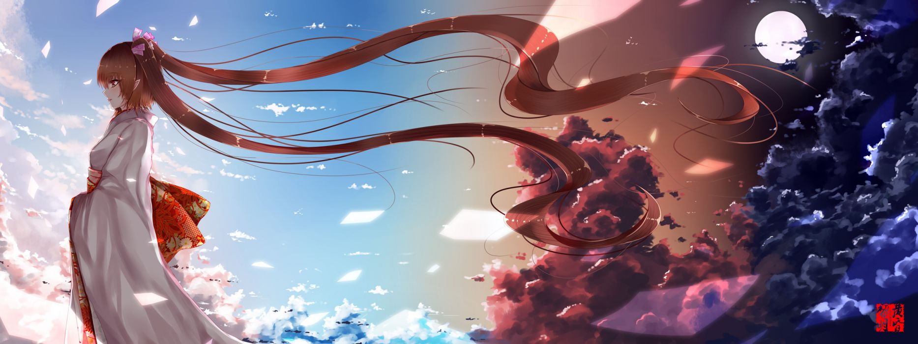 touhou clouds dusk dawn himekaidou hatate japanese clothes kimono long hair moon sky touhou wallpaper