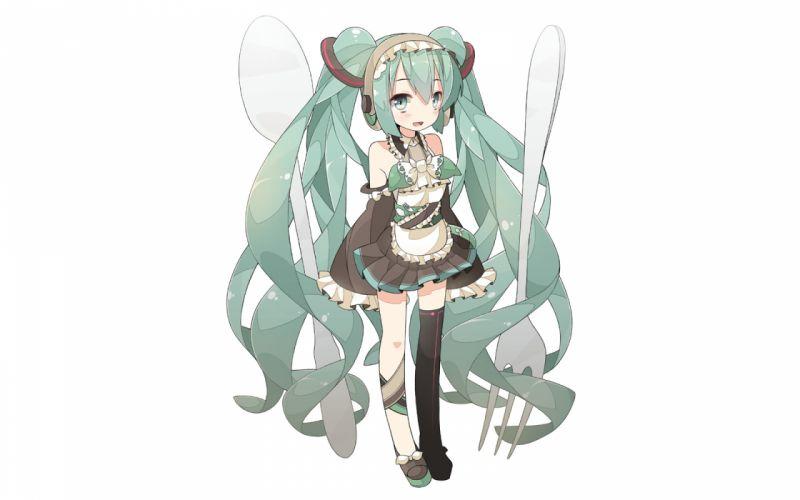 vocaloid apron blue eyes blue hair chitetan hatsune miku headband long hair skirt thighhighs twintails vocaloid white wallpaper