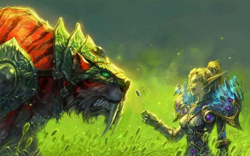 World Of Warcraft Blood Elf Tigers WOW girl elf tiger Grass Armor fantasy wallpaper