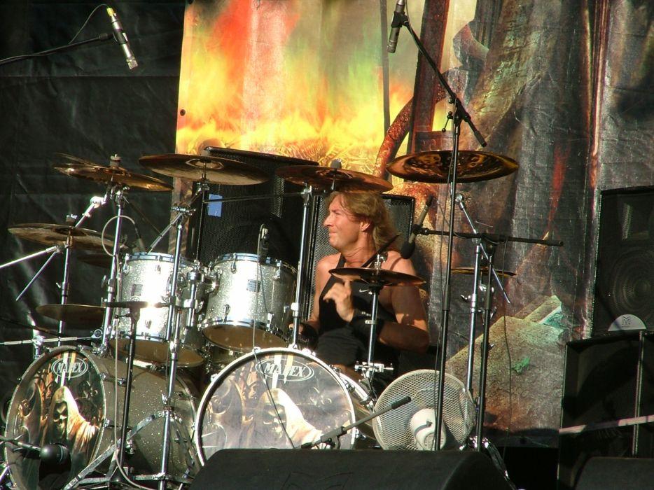 GRAVE DIGGER heavy metal concert drums wallpaper