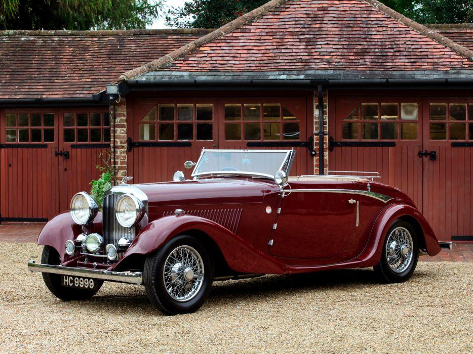 1934 Bentley Drophead Coupe by Vanden Plas retro luxury convertible  fs wallpaper