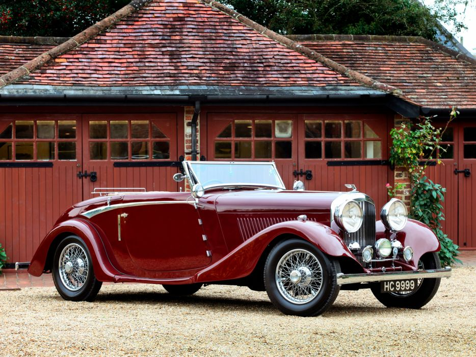 1934 Bentley Drophead Coupe by Vanden Plas retro luxury convertible wallpaper