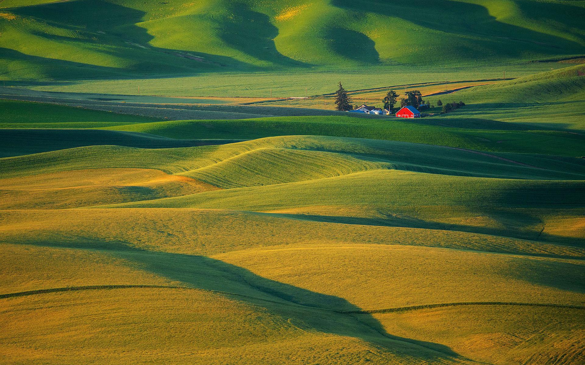 Поля, вид с холма  № 2907875 бесплатно
