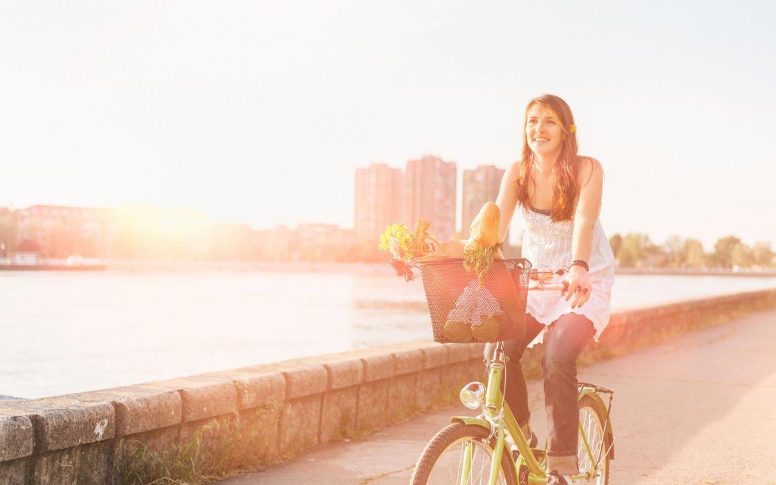 mood girl smile joy sport bike basket basket flower wallpaper