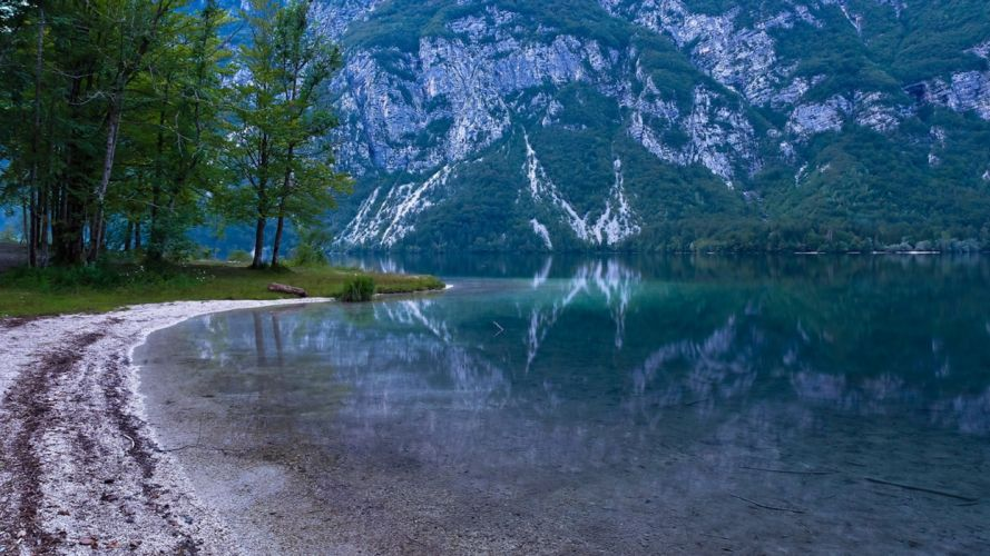 nature mountains lake beach trees reflection wallpaper