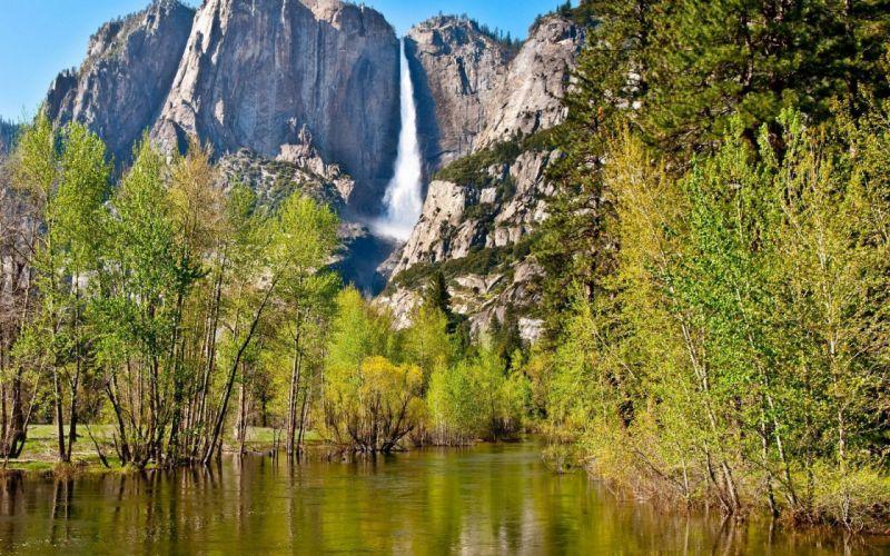 nature mountains waterfalls trees water wallpaper