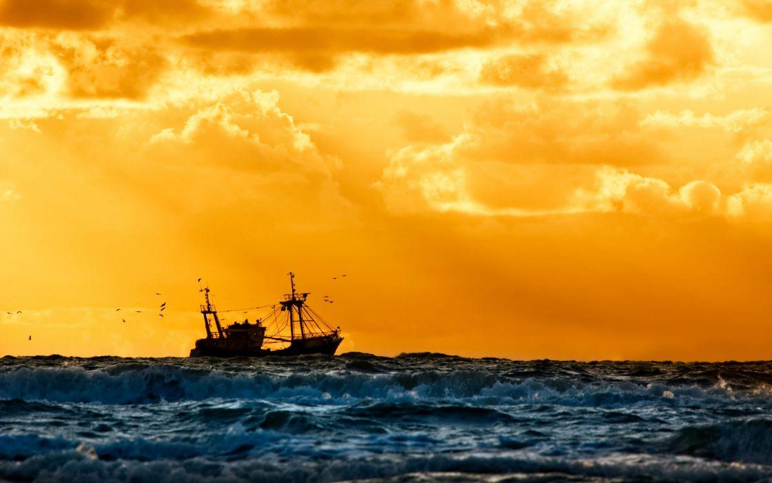ship sunset fishing fleet  wallpaper