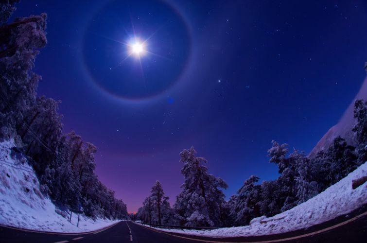 sky night winter nature moon light wallpaper