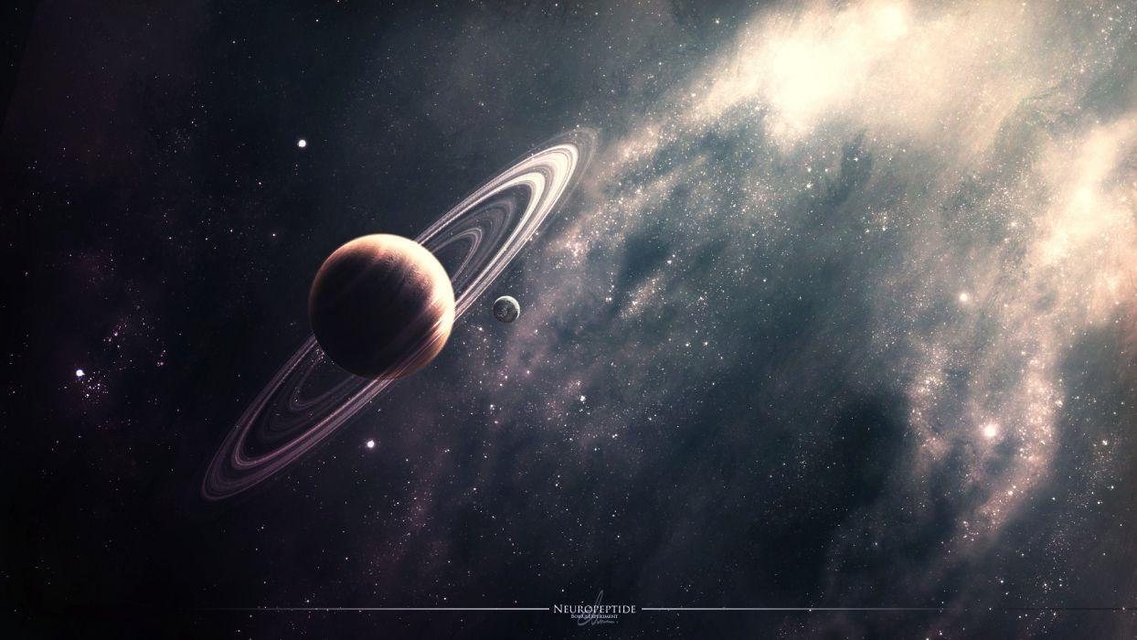 space planet rings nebula star wallpaper