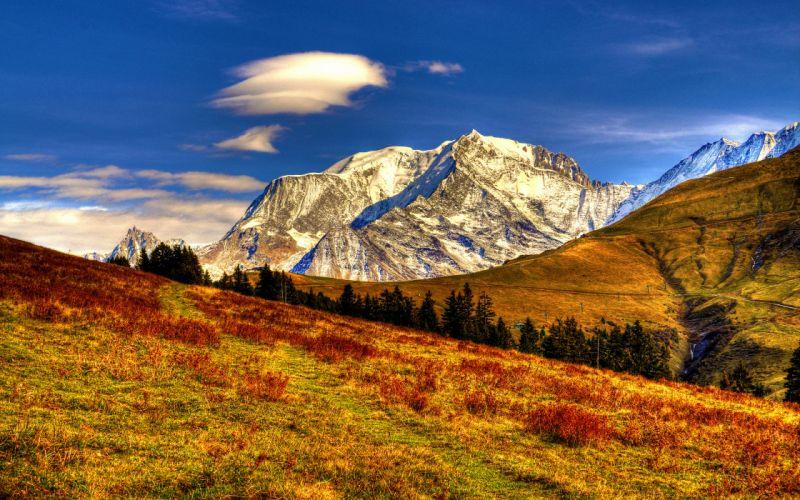 sky clouds mountains landscape nature wallpaper