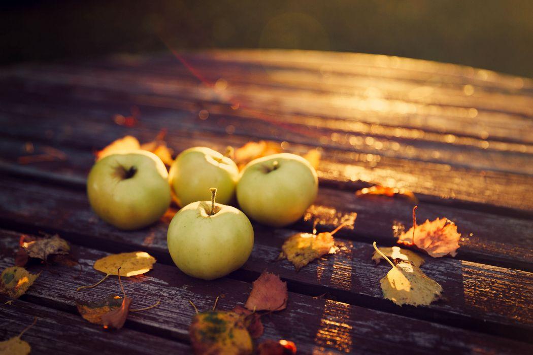 table apples autumn harvest leaves wallpaper