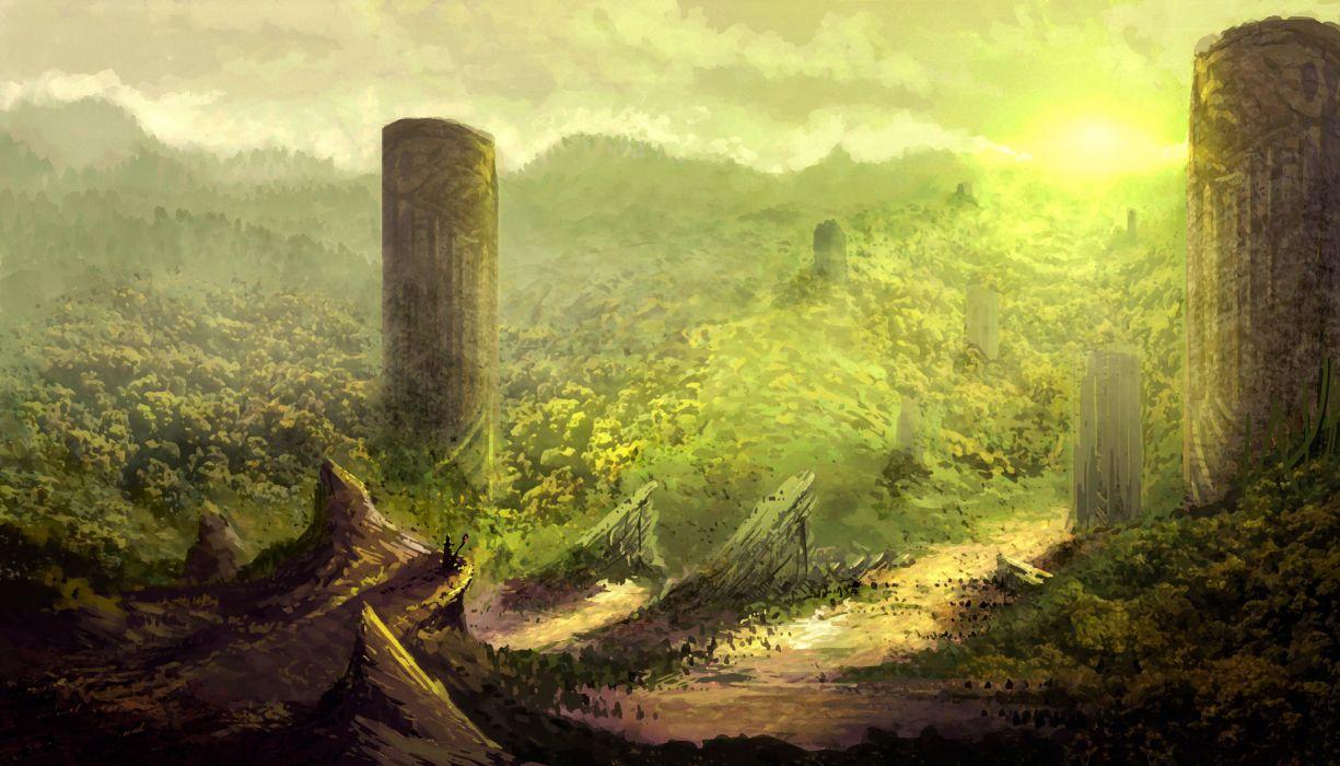 art fantasy world mountains hills columns ruins wallpaper