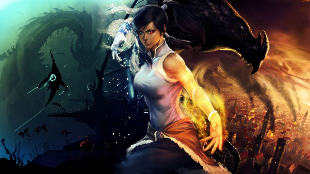 Avatar The Legend of Korra Magic Warrior Singlet Anime Girls Fantasy sci-fi dragon wallpaper