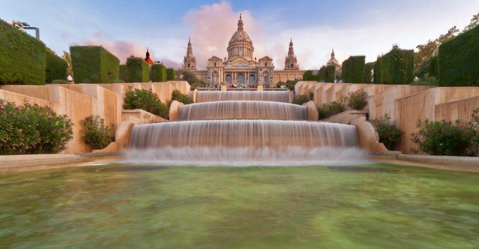 Barcelona aeYaeYSpain fountain cascade wallpaper