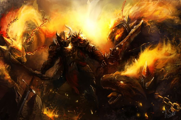 Battle Monster Fire Armor Sword warrior h wallpaper