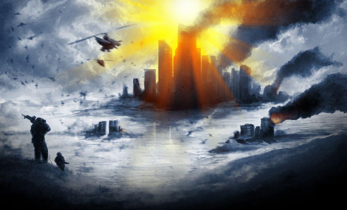 Battlefield 4 Skyscrapers Smoke Rays of light Games apocalyptic sci-fi wallpaper