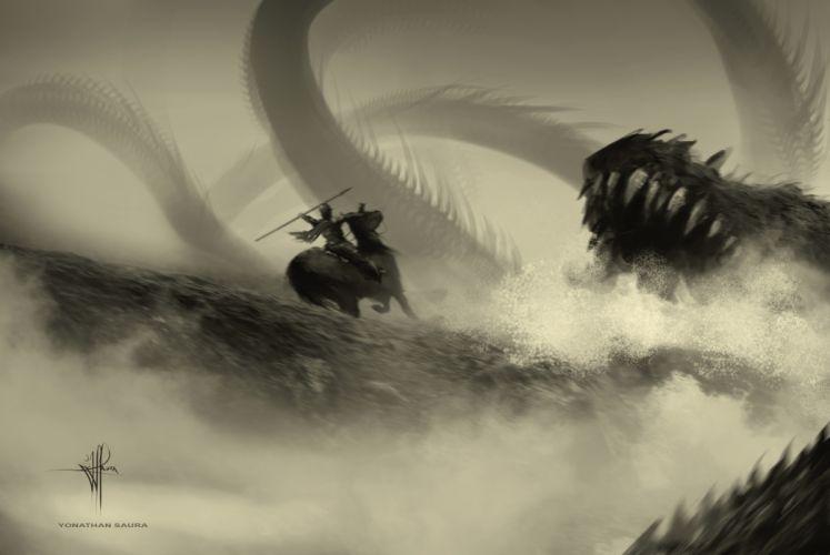 Battle Warrior Monster dragon wallpaper