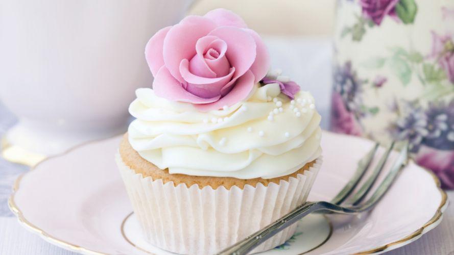 cake cupcake cream white flower rosette food dessert wallpaper
