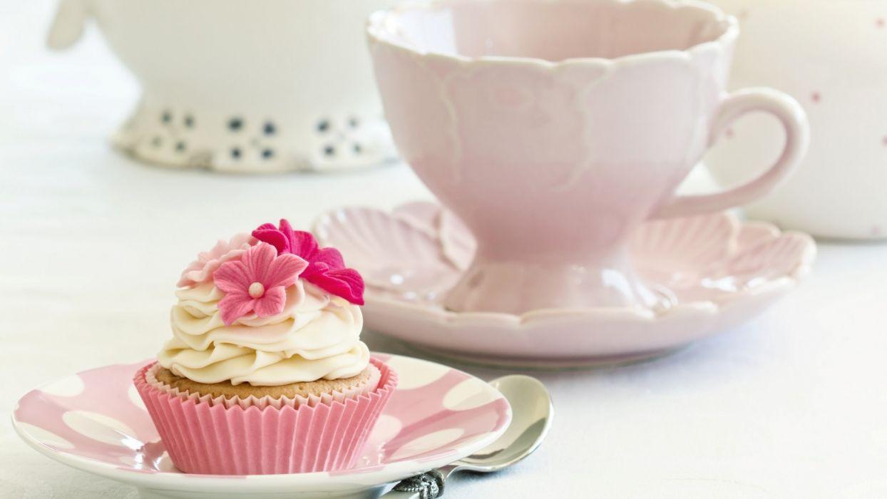 cake cupcake cream white flowers pink food dessert sweet dishes wallpaper