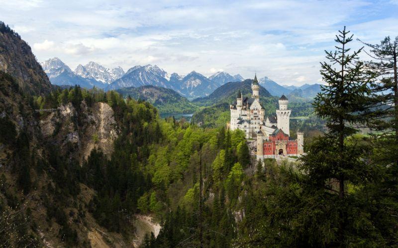Castle Bavaria Germany mountains forest trees landscape wallpaper