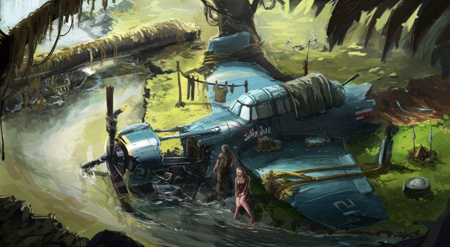 Disasters Airplane Fantasy wallpaper