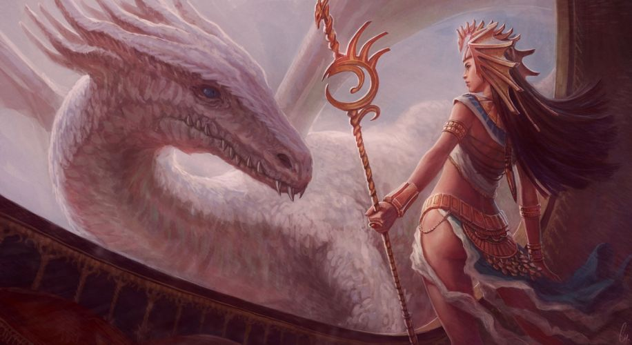 Dragon Mage Staff Fantasy Girls wallpaper