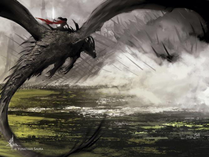 Dragon Flight Fog wallpaper