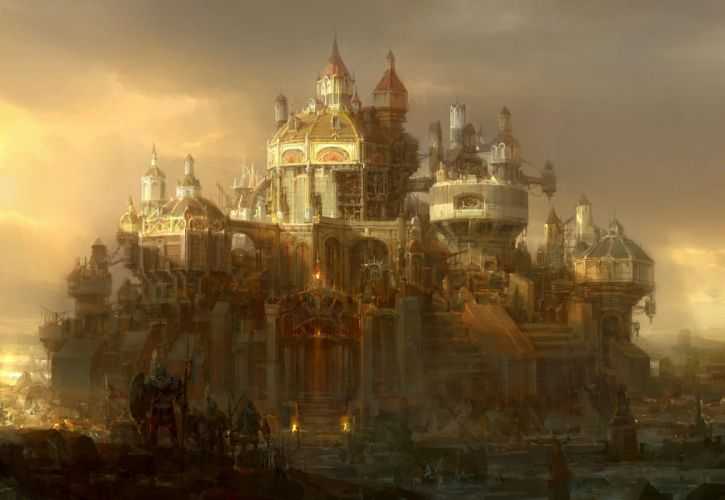 Fantastic world Fantasy Cities sci-fi steampunk castle wallpaper