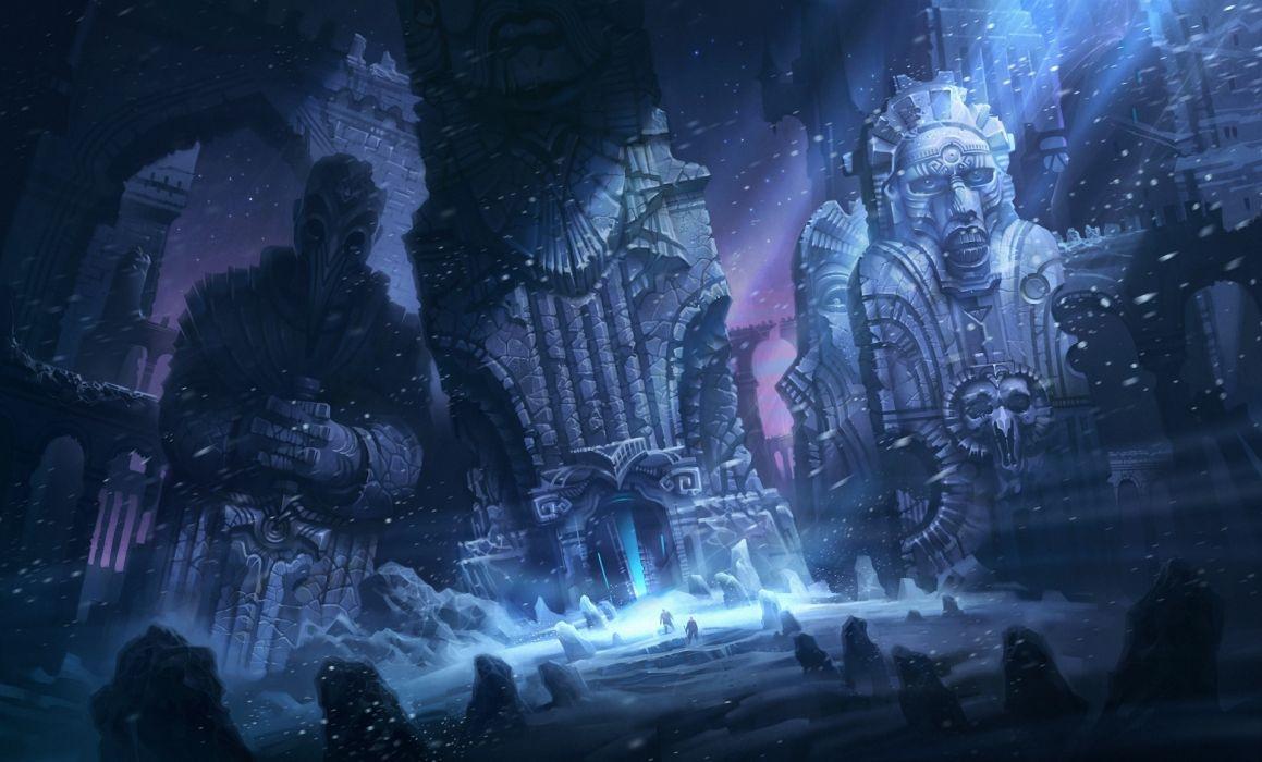 Fantastic world Ruins Snow Night wallpaper