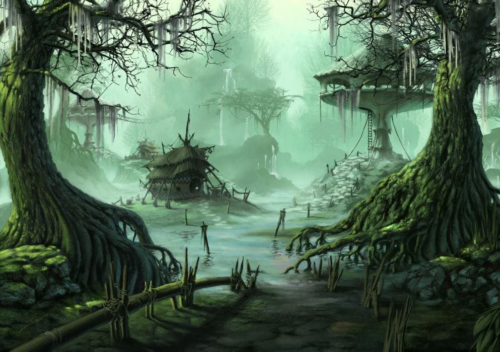 Fantasy Village Trees Swamp city wallpaper