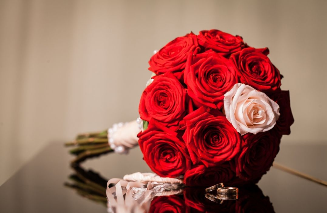 flowers red rings roses bouquet wallpaper