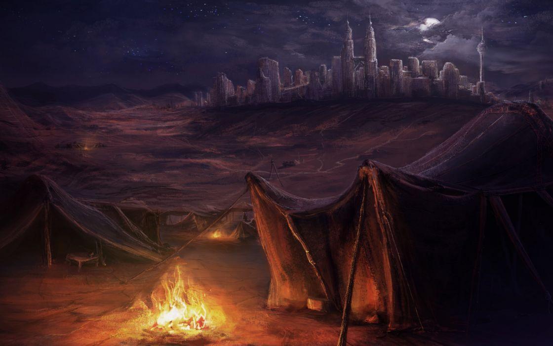 art  night  tent  city  fire wallpaper