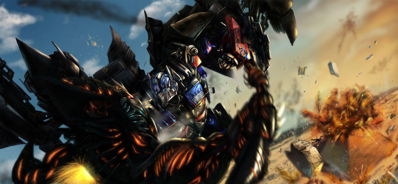 explosions transformers battle sci-fi mecha wallpaper