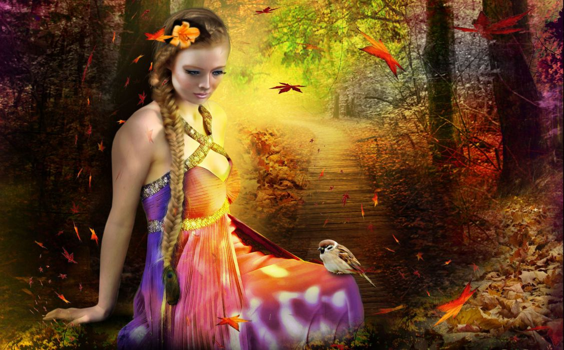 fantasy girl lashes make-up hair braid flowers dress poultry track trees leaves autumn mood wallpaper