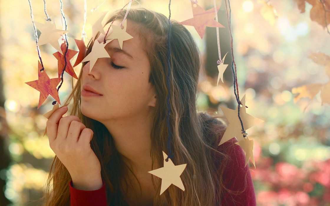 girl  stars  mood bokeh wallpaper
