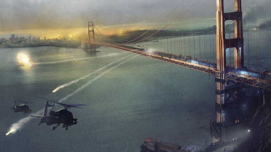 helicopters war battle homefront explosions guns games fire bridge wallpaper