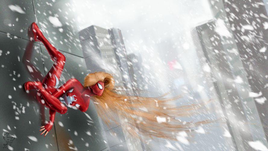 Heroes comics Spiderman hero Snow girl wallpaper