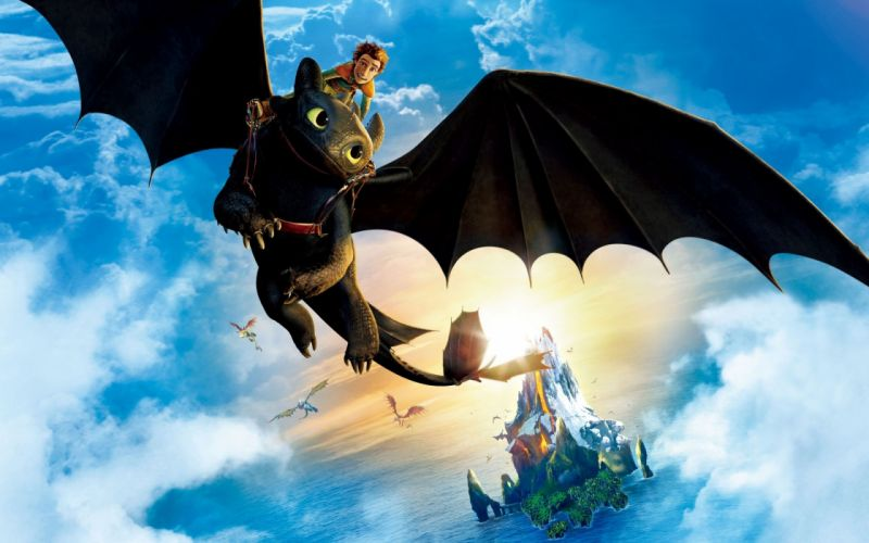 How to Train Your Dragon Dragons Sky Flight Wings Clouds Cartoons Fantasy wallpaper