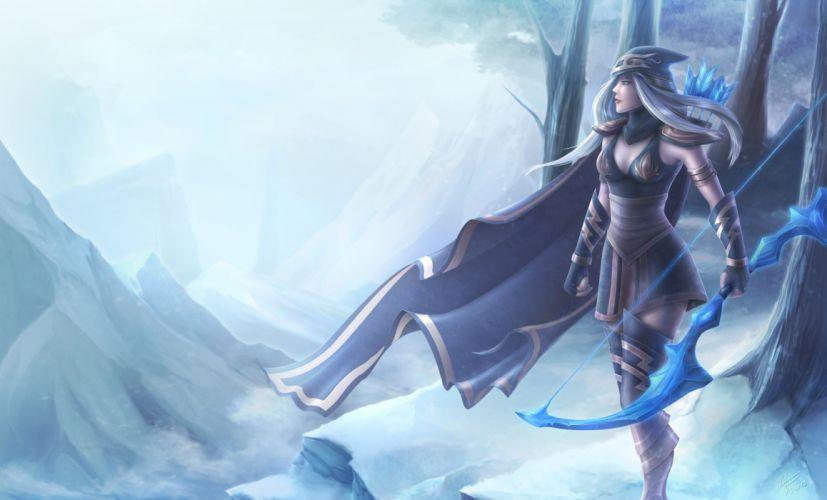 League of Legends Archer Ashe lol Cloak Games Fantasy warrior wallpaper