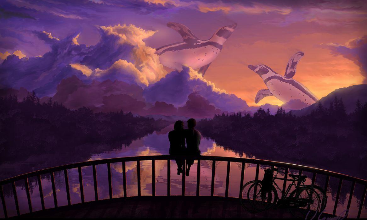 Love Bridges Penguin Bicycle Fence Sitting Fantasy Mood Wallpaper
