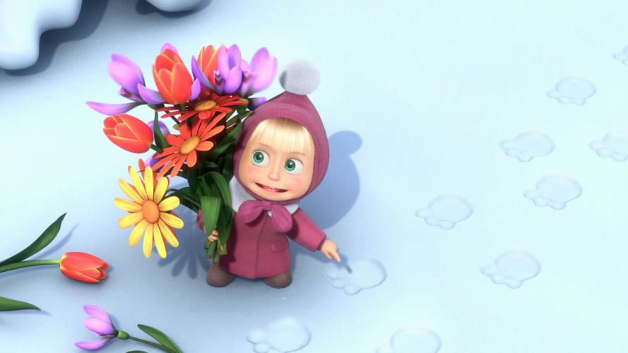 Masha and the Bear Mary flowers snow footprints f wallpaper