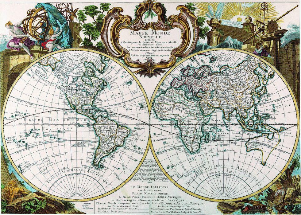 map antiquity mappe monde Hemisphere 1744 wallpaper