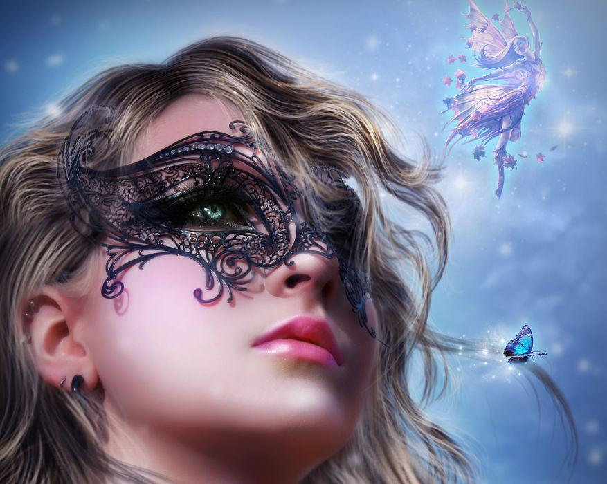 Masks Fairies Face Glance Girls fairy gothic bokeh wallpaper