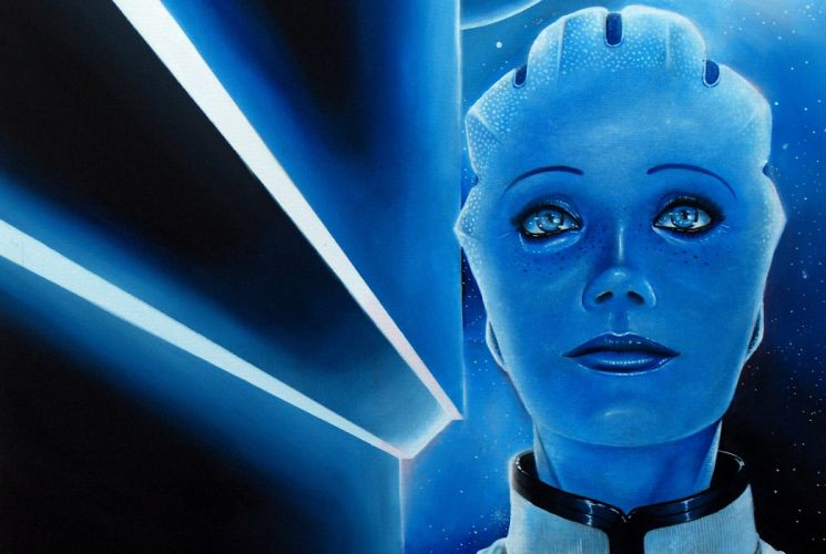 Mass Effect Liara Alien Face Glance Head Games Girls sci-fi wallpaper