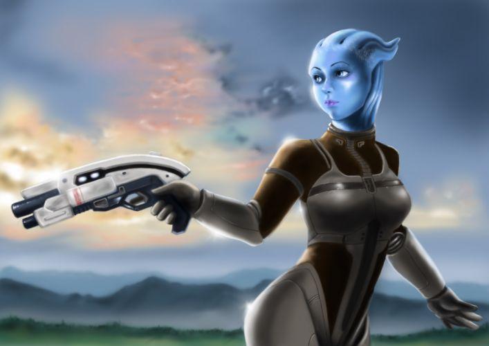 Mass Effect Warrior Pistol Liara Alien Games sci-fi wallpaper